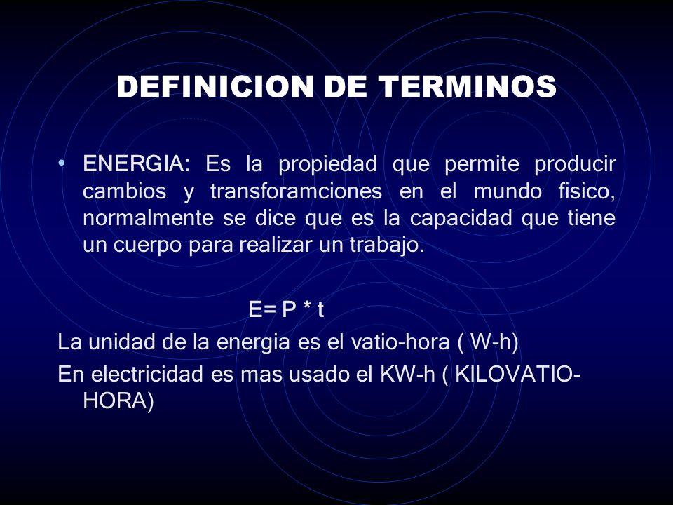 DEFINICION DE TERMINOS POTENCIA ( P ): Es la rapidez con la cual la ENERGIA se transporta de un lugar a otro, o bien se cambia de una forma a otra.