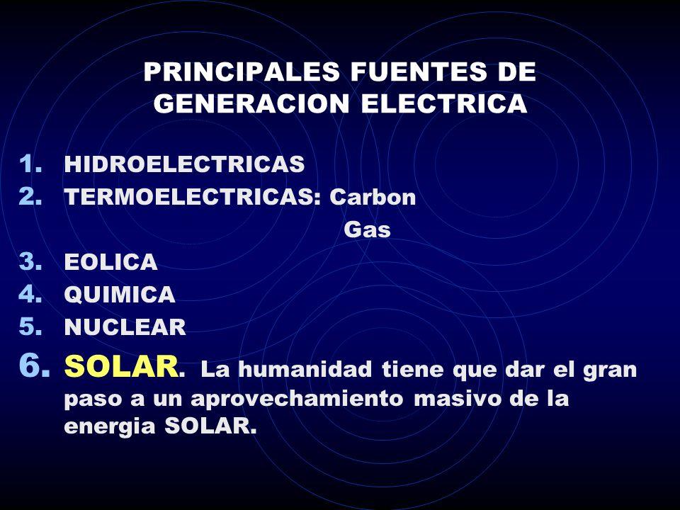 PRINCIPALES FUENTES DE GENERACION ELECTRICA 1.HIDROELECTRICAS 2.