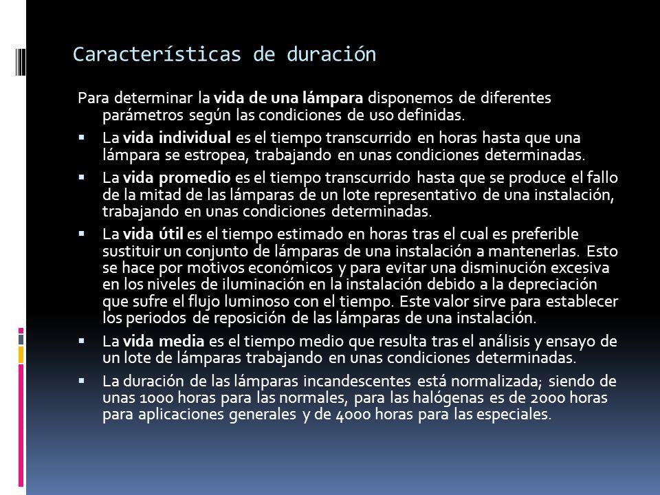 Características de duración Para determinar la vida de una lámpara disponemos de diferentes parámetros según las condiciones de uso definidas. La vida