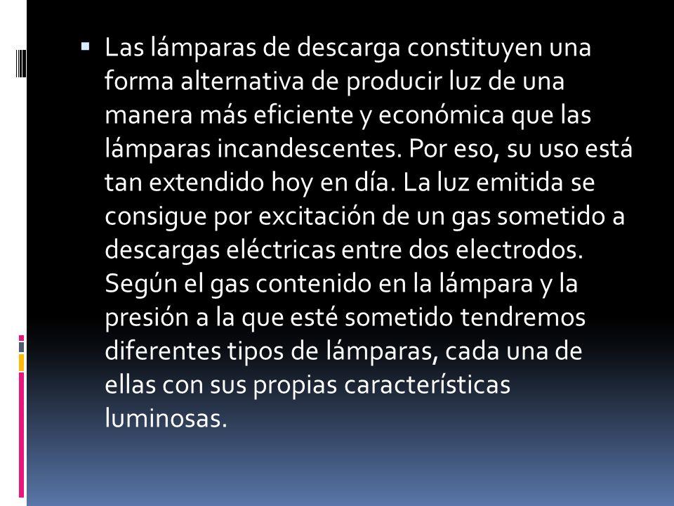 Las lámparas de descarga constituyen una forma alternativa de producir luz de una manera más eficiente y económica que las lámparas incandescentes. Po