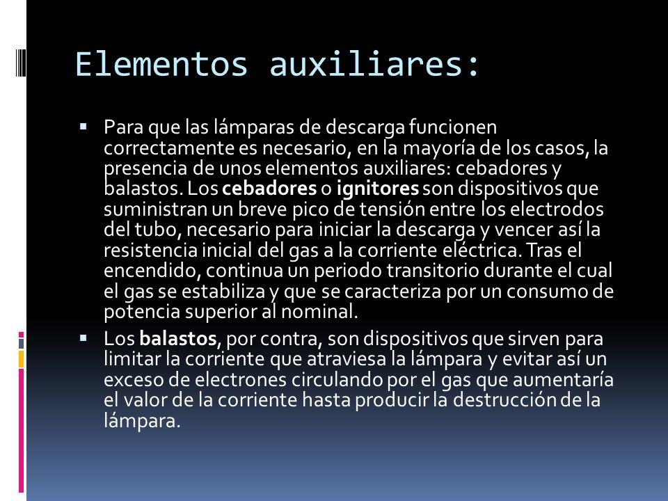 Elementos auxiliares: Para que las lámparas de descarga funcionen correctamente es necesario, en la mayoría de los casos, la presencia de unos element