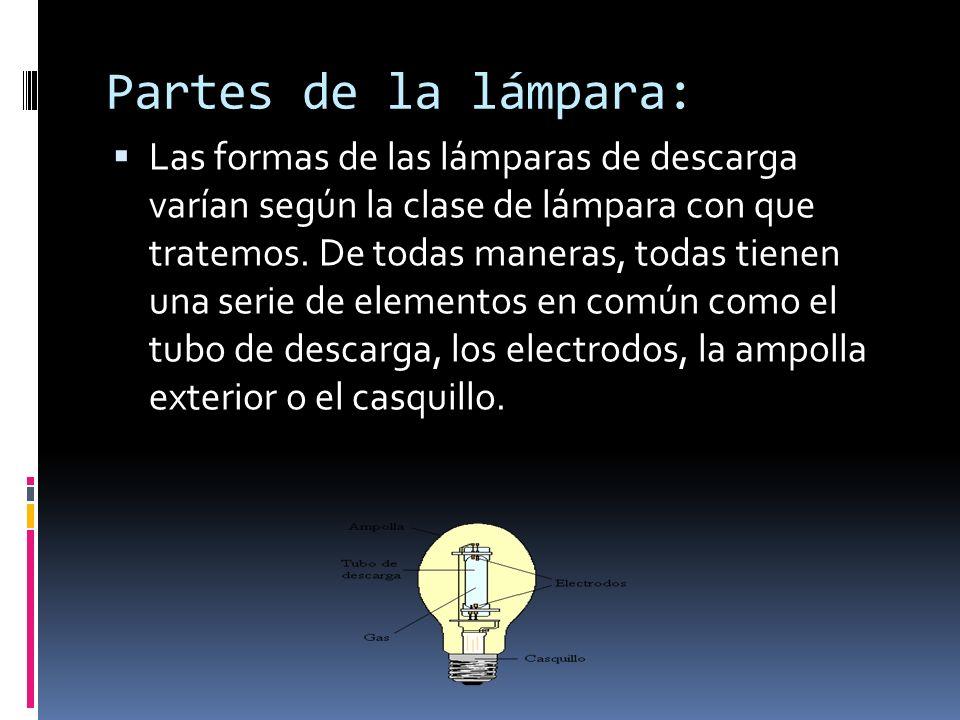 Partes de la lámpara: Las formas de las lámparas de descarga varían según la clase de lámpara con que tratemos. De todas maneras, todas tienen una ser