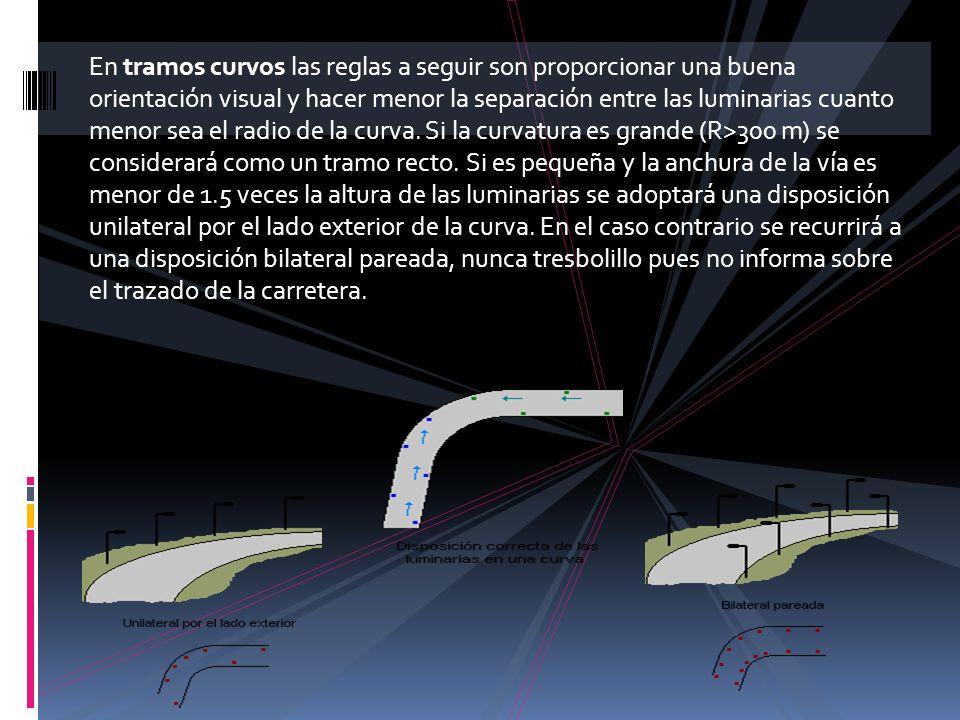 En tramos curvos las reglas a seguir son proporcionar una buena orientación visual y hacer menor la separación entre las luminarias cuanto menor sea e
