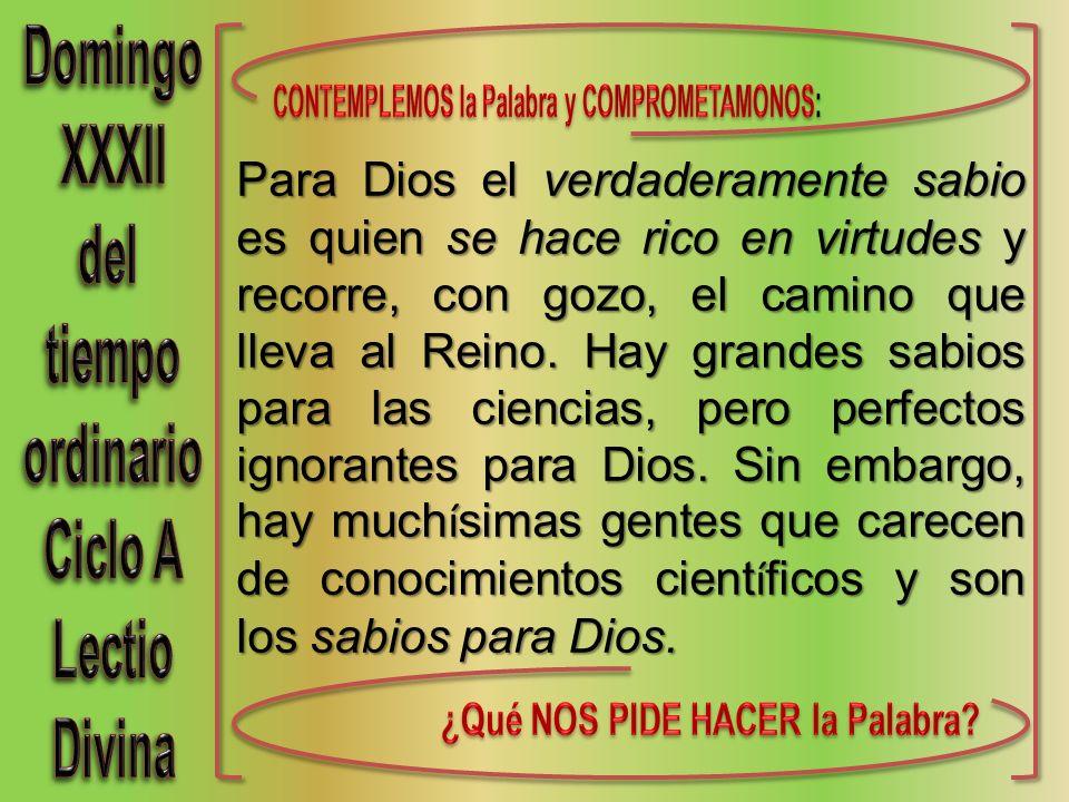 Para Dios el verdaderamente sabio es quien se hace rico en virtudes y recorre, con gozo, el camino que lleva al Reino.