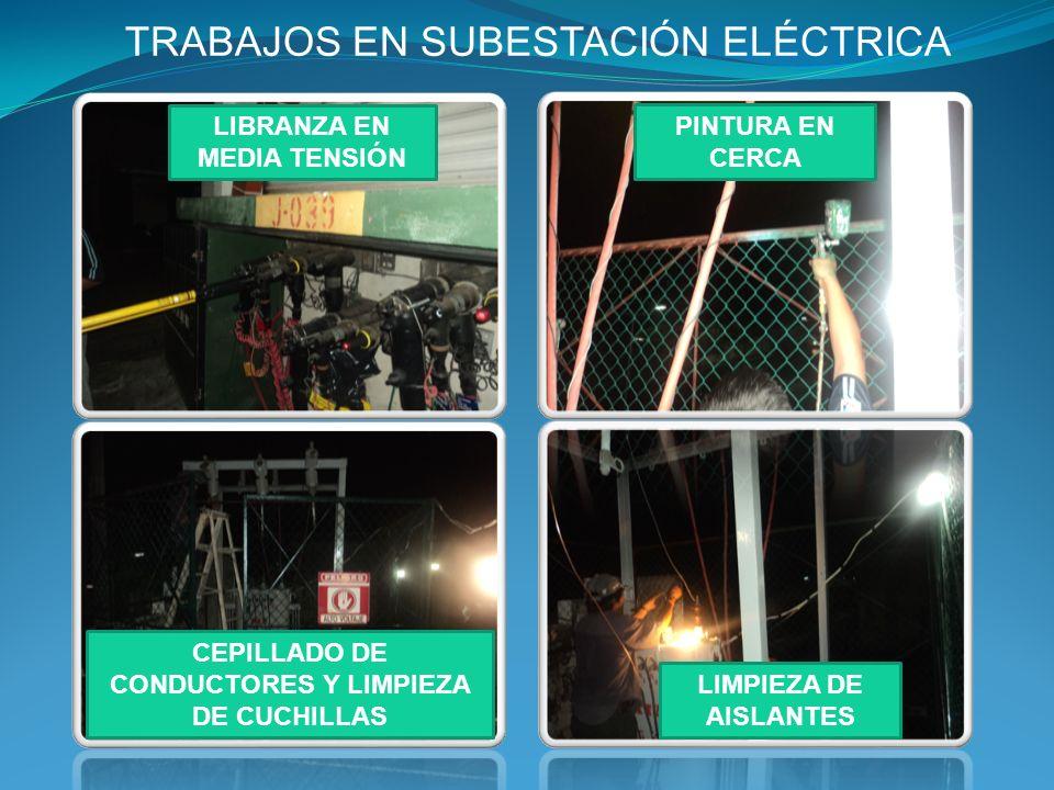 SUBESTACIÓN ELÉCTRICA CONDUCTORES LIMPIOS Y BARNIZADOS Y CERCA PINTADA AISLANTES LIMPIOS Y ENGRASADOS CUCHILLAS LIMPIAS ESTRUCTURA PINTADA D E S P U E S