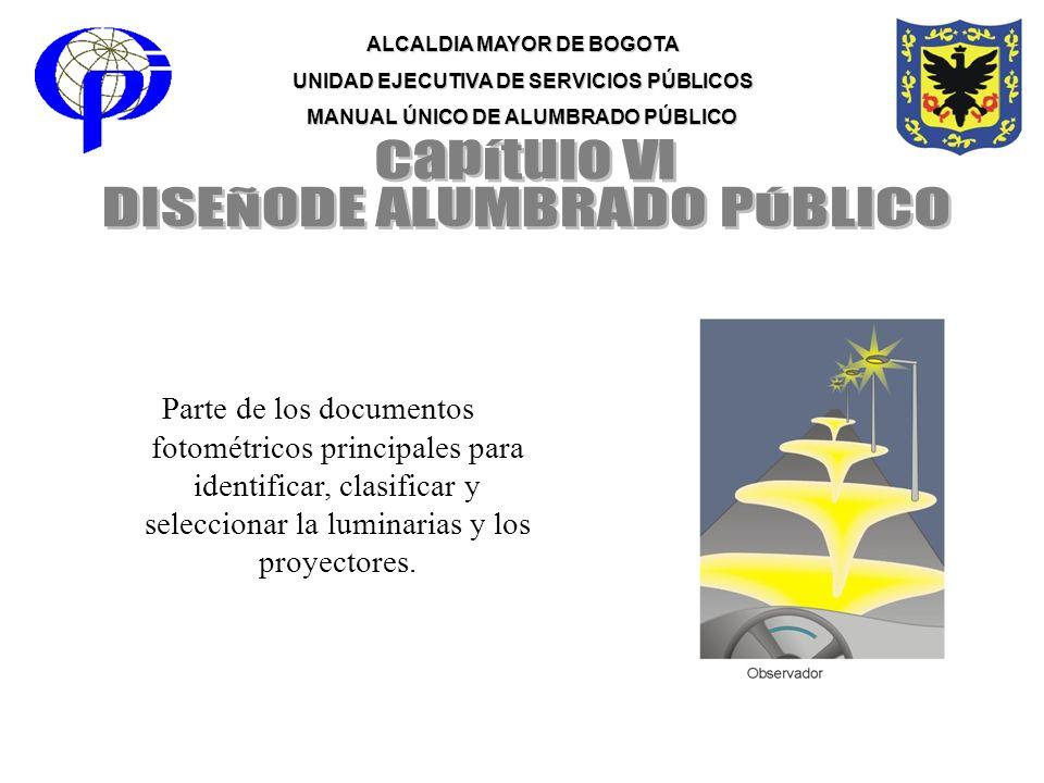 ALCALDIA MAYOR DE BOGOTA UNIDAD EJECUTIVA DE SERVICIOS PÚBLICOS MANUAL ÚNICO DE ALUMBRADO PÚBLICO Parte de los documentos fotométricos principales par