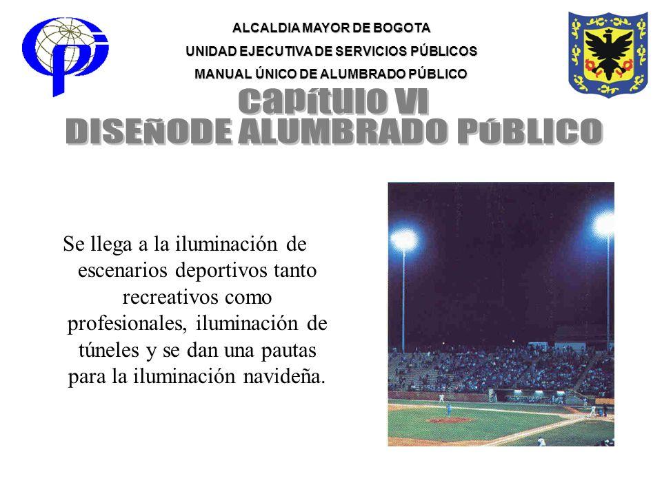 ALCALDIA MAYOR DE BOGOTA UNIDAD EJECUTIVA DE SERVICIOS PÚBLICOS MANUAL ÚNICO DE ALUMBRADO PÚBLICO Se llega a la iluminación de escenarios deportivos t