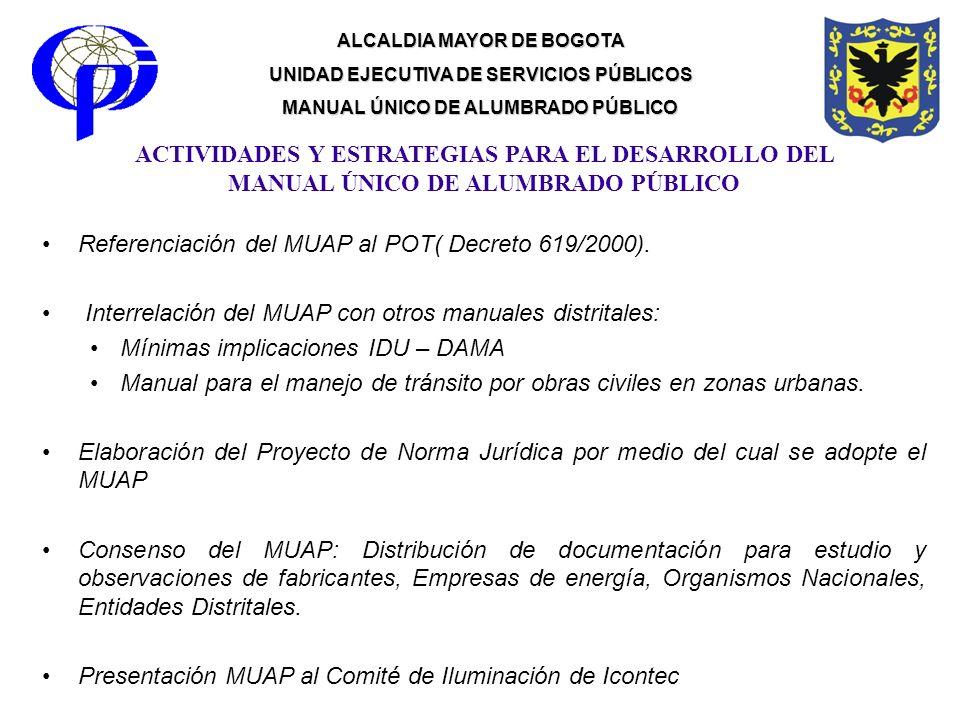 ALCALDIA MAYOR DE BOGOTA UNIDAD EJECUTIVA DE SERVICIOS PÚBLICOS MANUAL ÚNICO DE ALUMBRADO PÚBLICO Referenciación del MUAP al POT( Decreto 619/2000). I