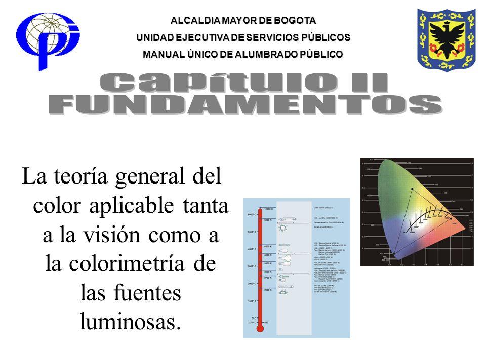 ALCALDIA MAYOR DE BOGOTA UNIDAD EJECUTIVA DE SERVICIOS PÚBLICOS MANUAL ÚNICO DE ALUMBRADO PÚBLICO La teoría general del color aplicable tanta a la vis