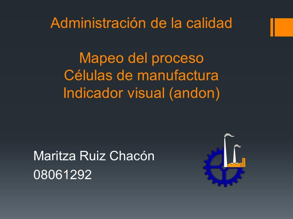 Administración de la calidad Mapeo del proceso Células de manufactura Indicador visual (andon) Maritza Ruiz Chacón 08061292