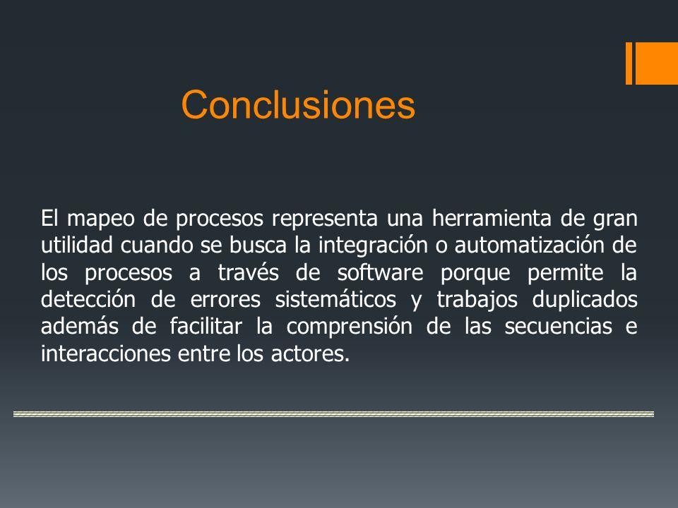 Conclusiones El mapeo de procesos representa una herramienta de gran utilidad cuando se busca la integración o automatización de los procesos a través