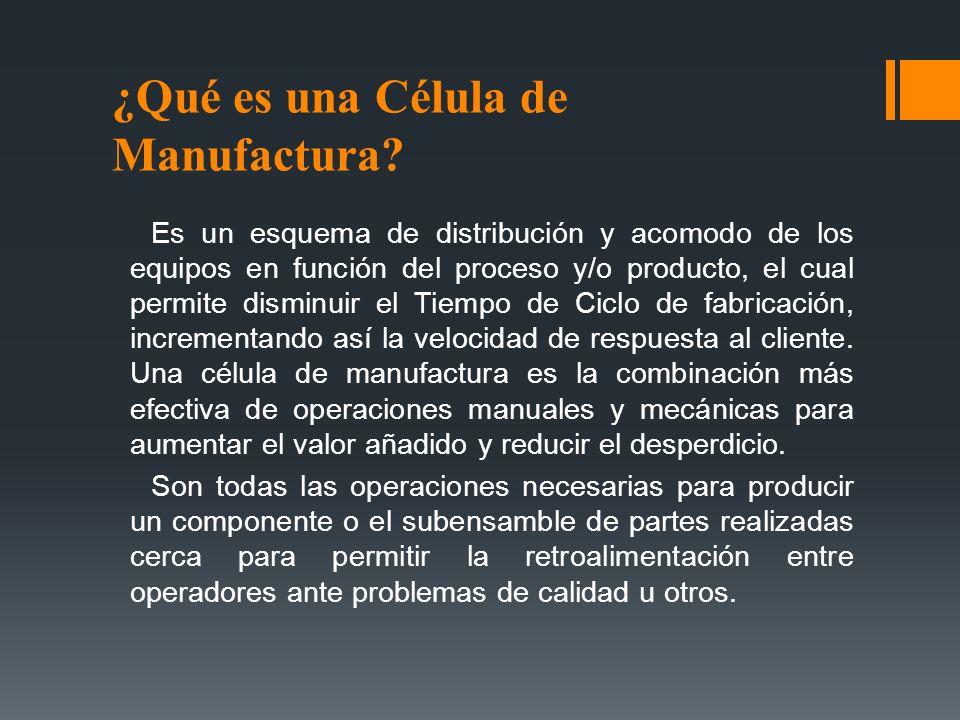 ¿Qué es una Célula de Manufactura? Es un esquema de distribución y acomodo de los equipos en función del proceso y/o producto, el cual permite disminu