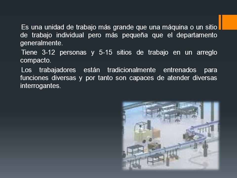 Es una unidad de trabajo más grande que una máquina o un sitio de trabajo individual pero más pequeña que el departamento generalmente. Tiene 3-12 per