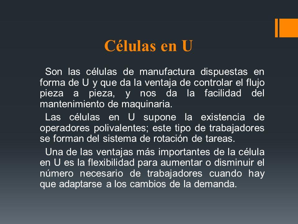 Células en U Son las células de manufactura dispuestas en forma de U y que da la ventaja de controlar el flujo pieza a pieza, y nos da la facilidad de