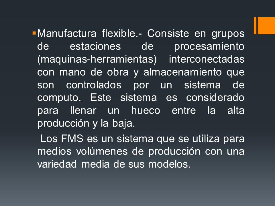 Manufactura flexible.- Consiste en grupos de estaciones de procesamiento (maquinas-herramientas) interconectadas con mano de obra y almacenamiento que