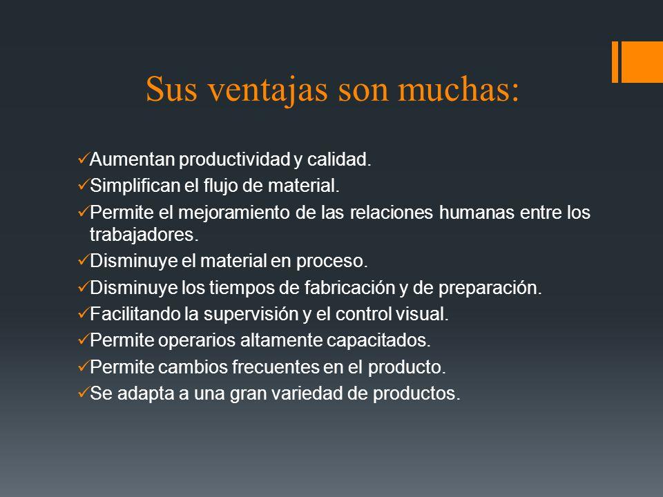Sus ventajas son muchas: Aumentan productividad y calidad. Simplifican el flujo de material. Permite el mejoramiento de las relaciones humanas entre l