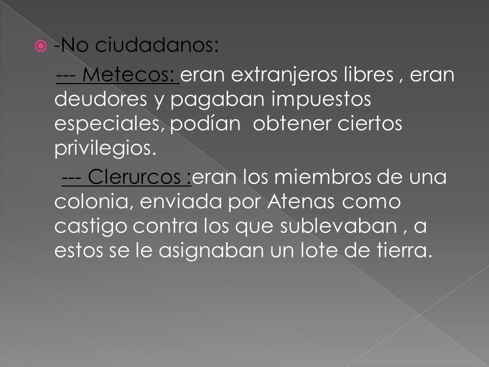 -No ciudadanos: --- Metecos: eran extranjeros libres, eran deudores y pagaban impuestos especiales, podían obtener ciertos privilegios. --- Clerurcos