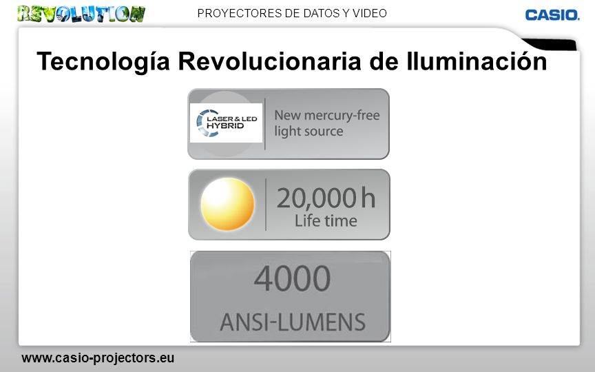 PROYECTORES DE DATOS Y VIDEO www.casio-projectors.eu Tecnología Revolucionaria de Iluminación