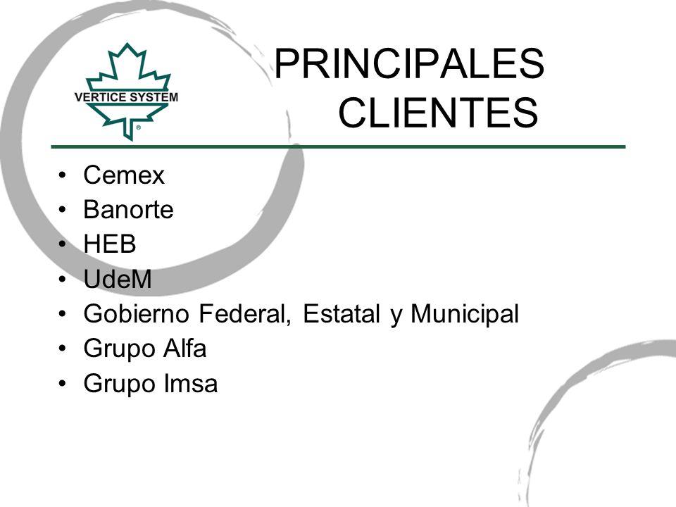 PRINCIPALES CLIENTES Cemex Banorte HEB UdeM Gobierno Federal, Estatal y Municipal Grupo Alfa Grupo Imsa
