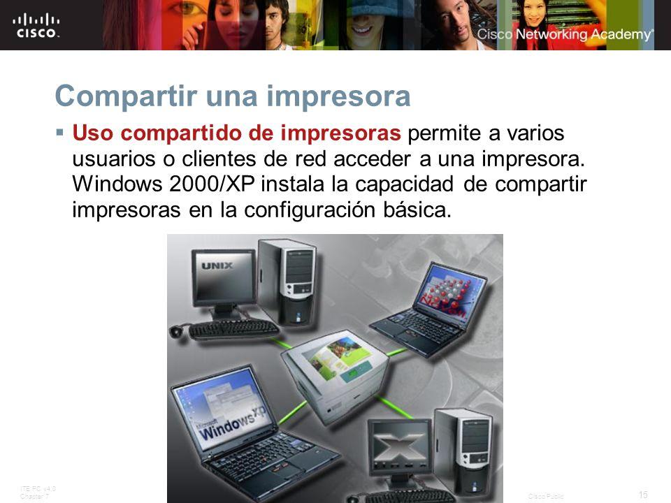 ITE PC v4.0 Chapter 7 15 © 2007 Cisco Systems, Inc. All rights reserved.Cisco Public Compartir una impresora Uso compartido de impresoras permite a va