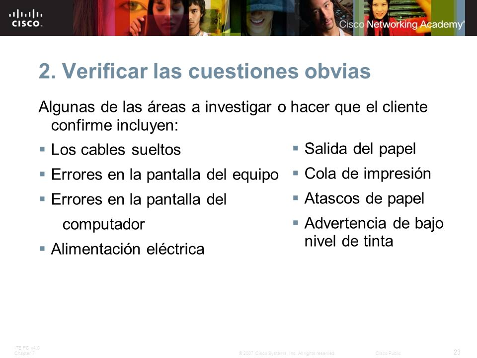 ITE PC v4.0 Chapter 7 23 © 2007 Cisco Systems, Inc. All rights reserved.Cisco Public 2. Verificar las cuestiones obvias Algunas de las áreas a investi