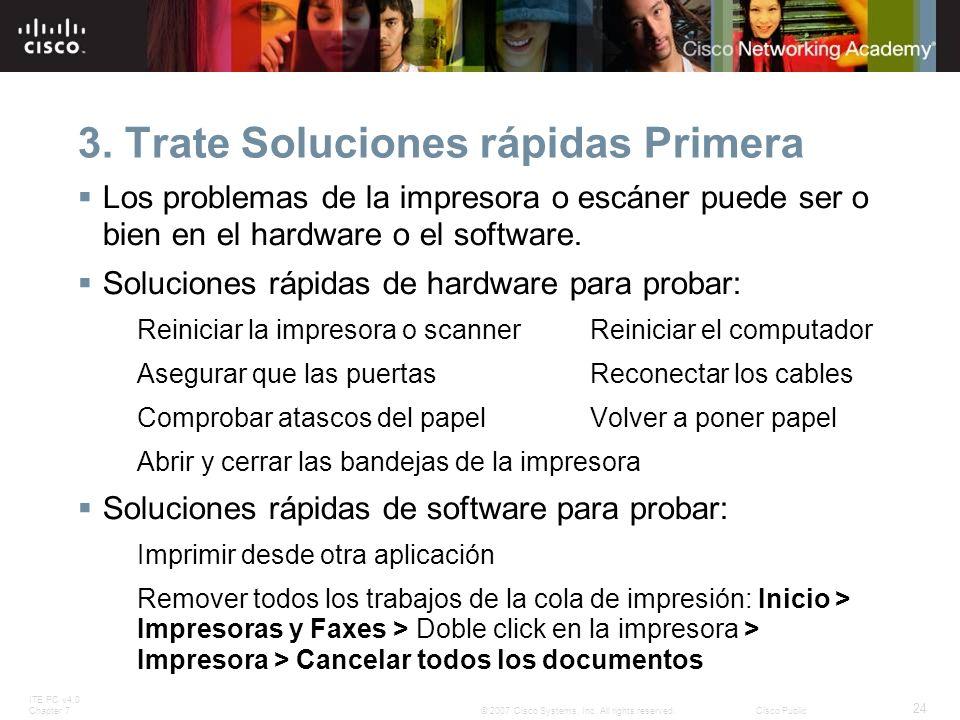 ITE PC v4.0 Chapter 7 24 © 2007 Cisco Systems, Inc. All rights reserved.Cisco Public 3. Trate Soluciones rápidas Primera Los problemas de la impresora