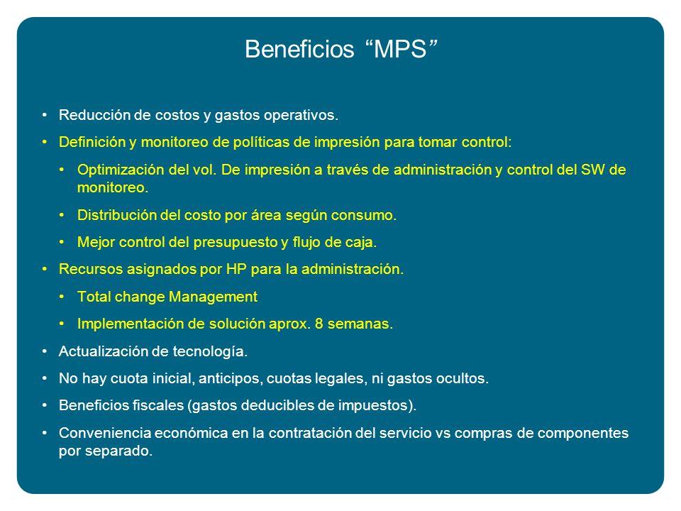 Beneficios MPS Reducción de costos y gastos operativos. Definición y monitoreo de políticas de impresión para tomar control: Optimización del vol. De