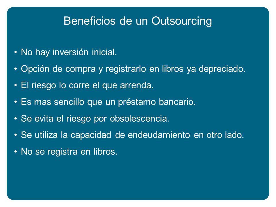 Beneficios de un Outsourcing No hay inversión inicial. Opción de compra y registrarlo en libros ya depreciado. El riesgo lo corre el que arrenda. Es m