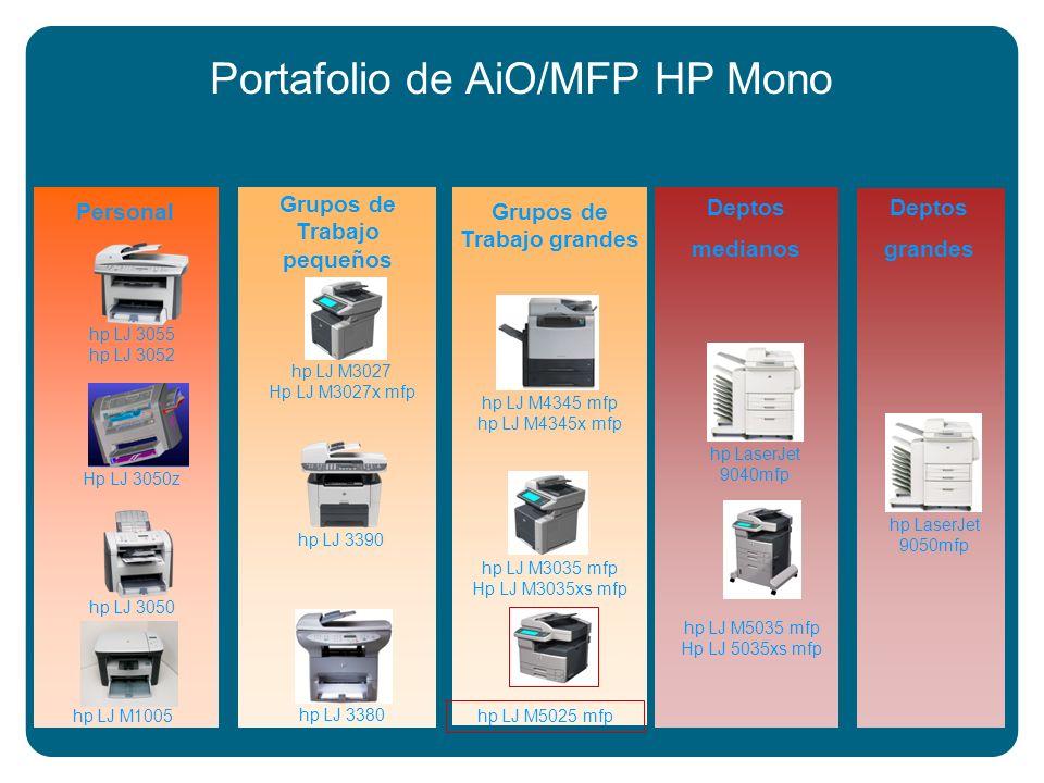 Portafolio de AiO/MFP HP Mono Deptos grandes hp LaserJet 9050mfp Grupos de Trabajo pequeños hp LJ 3380 hp LJ 3390 hp LJ M3027 Hp LJ M3027x mfp Deptos medianos hp LaserJet 9040mfp hp LJ M5035 mfp Hp LJ 5035xs mfp Grupos de Trabajo grandes hp LJ M4345 mfp hp LJ M4345x mfp hp LJ M3035 mfp Hp LJ M3035xs mfp hp LJ M5025 mfp Personal hp LJ 3050 hp LJ 3055 hp LJ 3052 hp LJ M1005 Hp LJ 3050z