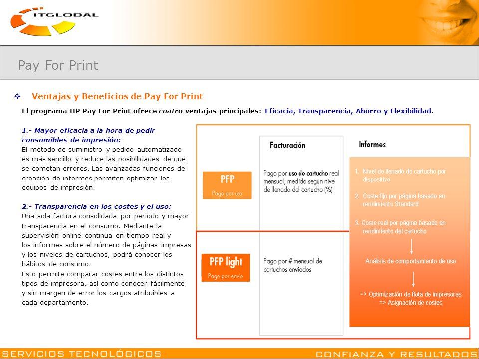 Ventajas y Beneficios de Pay For Print El programa HP Pay For Print ofrece cuatro ventajas principales: Eficacia, Transparencia, Ahorro y Flexibilidad