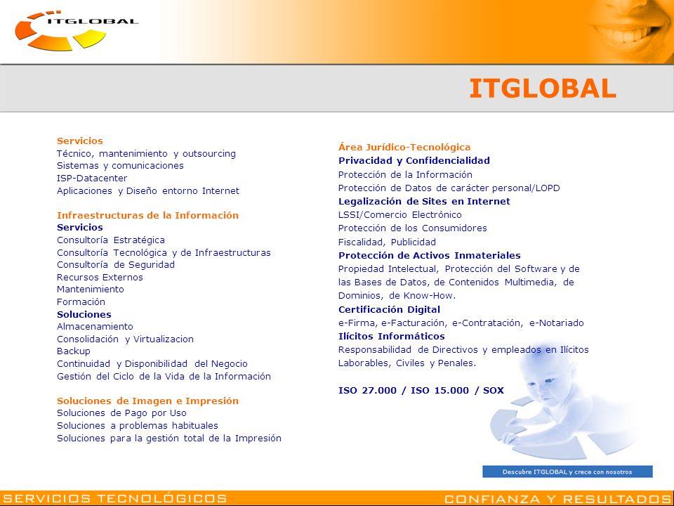 ITGLOBAL Servicios Técnico, mantenimiento y outsourcing Sistemas y comunicaciones ISP-Datacenter Aplicaciones y Diseño entorno Internet Infraestructur