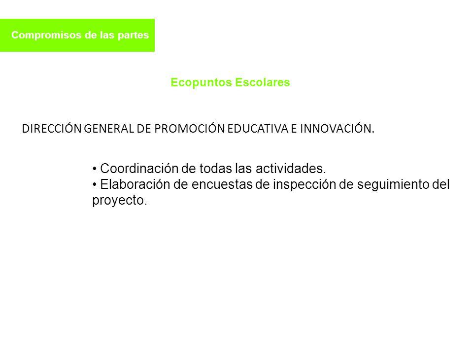 Compromisos de las partes DIRECCIÓN GENERAL DE PROMOCIÓN EDUCATIVA E INNOVACIÓN. Ecopuntos Escolares Coordinación de todas las actividades. Elaboració