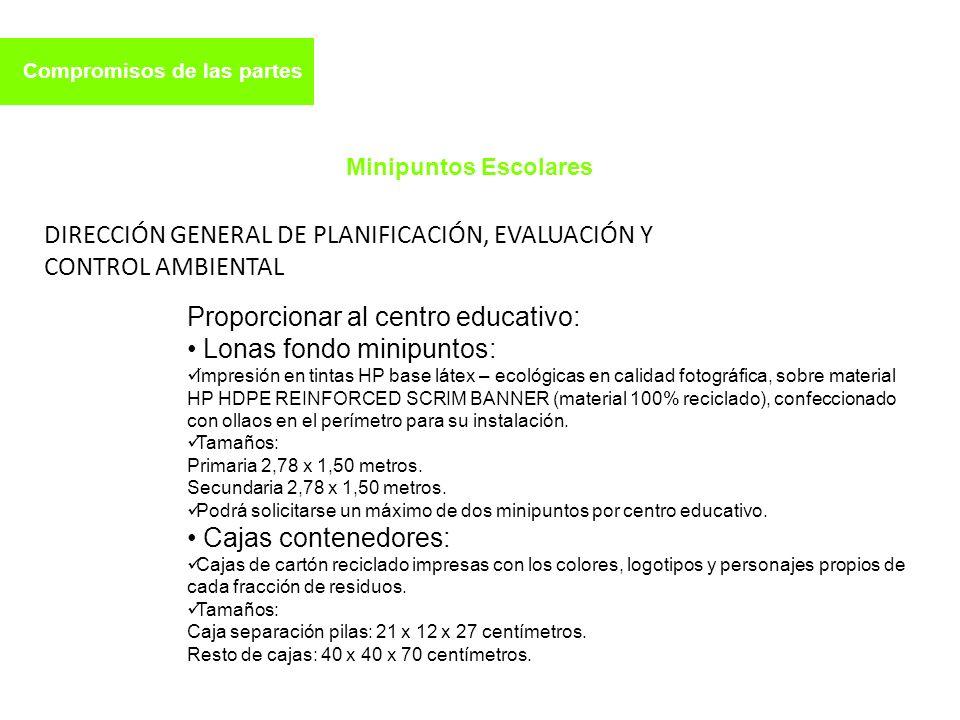 Compromisos de las partes Proporcionar al centro educativo: Lonas fondo minipuntos: Impresión en tintas HP base látex – ecológicas en calidad fotográf