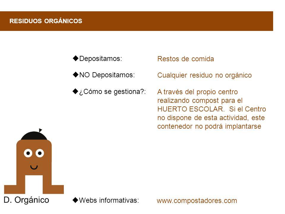 ¿Cómo se gestiona?: RESIDUOS ORGÁNICOS A través del propio centro realizando compost para el HUERTO ESCOLAR. Si el Centro no dispone de esta actividad