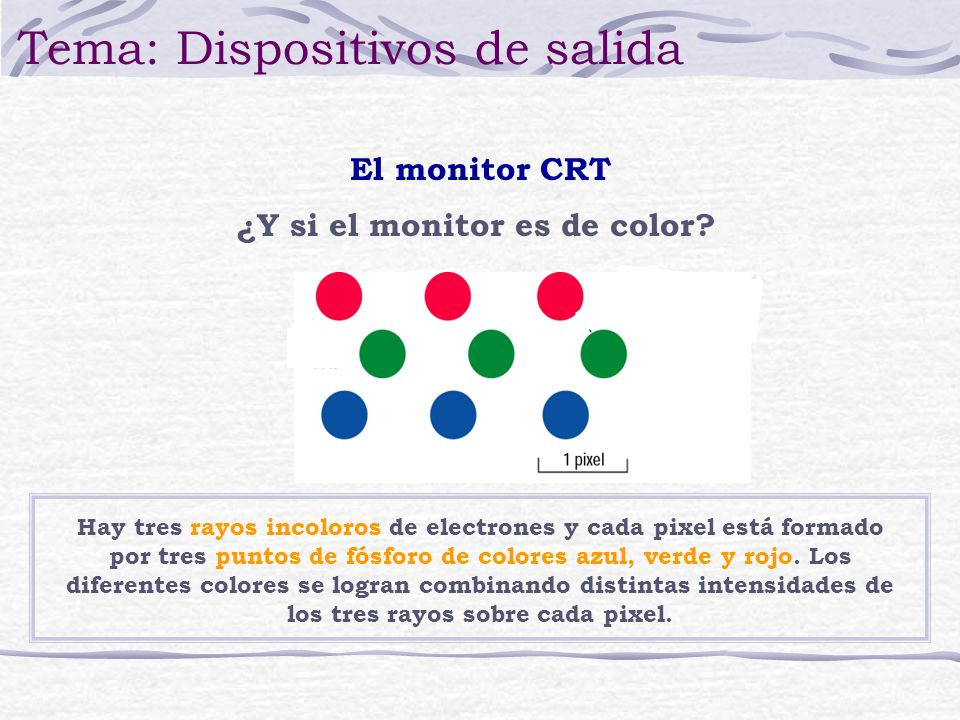 Hay tres rayos incoloros de electrones y cada pixel está formado por tres puntos de fósforo de colores azul, verde y rojo. Los diferentes colores se l
