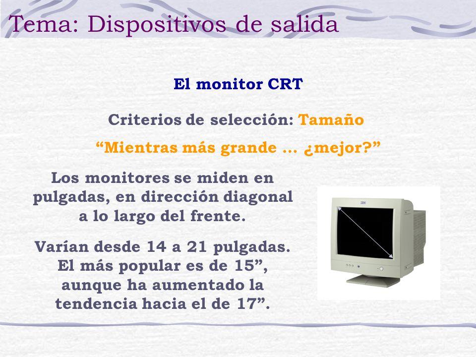 Criterios de selección: Tamaño Los monitores se miden en pulgadas, en dirección diagonal a lo largo del frente. Varían desde 14 a 21 pulgadas. El más