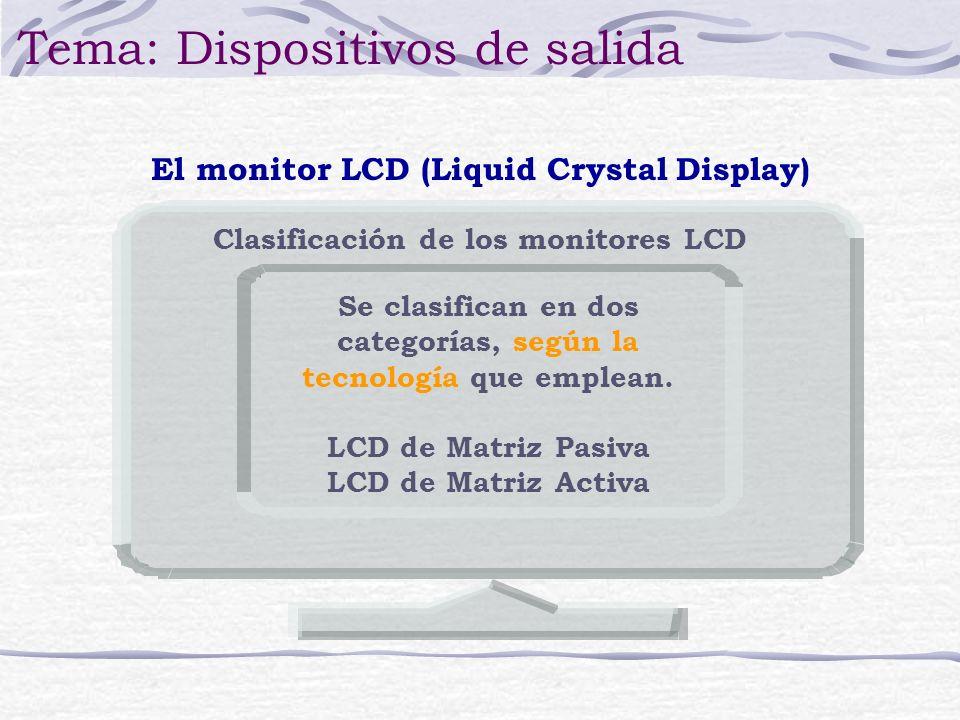 Se clasifican en dos categorías, según la tecnología que emplean. LCD de Matriz Pasiva LCD de Matriz Activa El monitor LCD (Liquid Crystal Display) Te