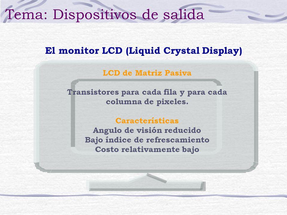 El monitor LCD (Liquid Crystal Display) Tema: Dispositivos de salida LCD de Matriz Pasiva Transistores para cada fila y para cada columna de pixeles.