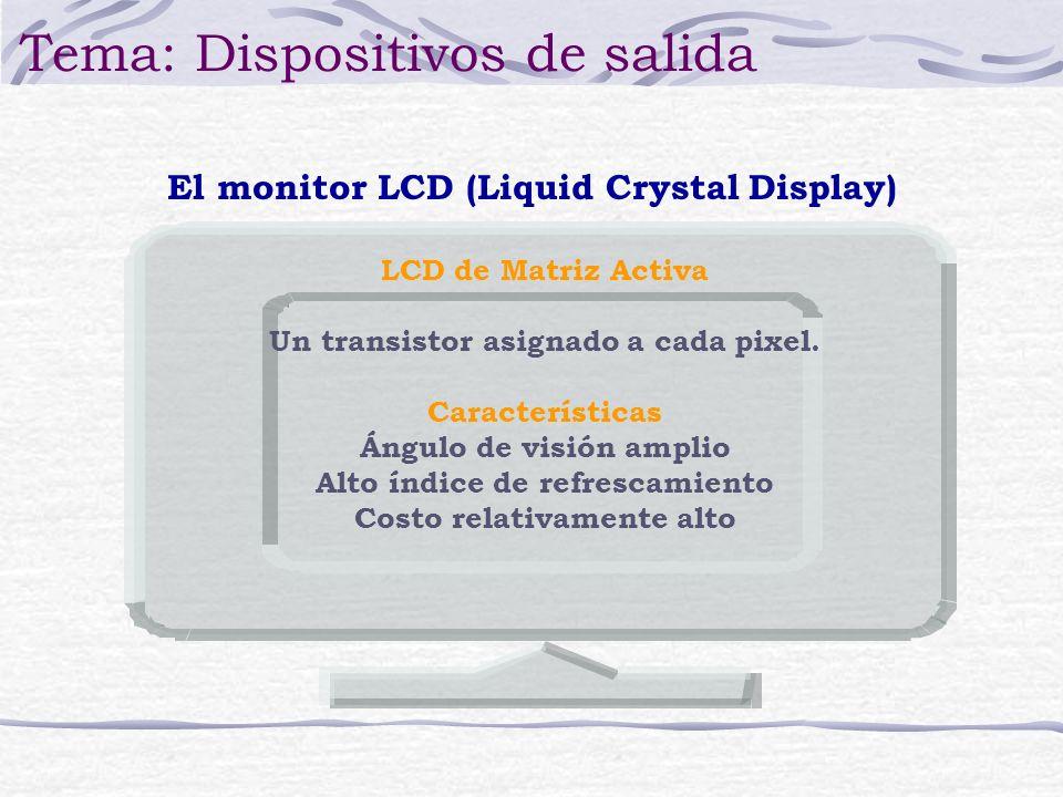 El monitor LCD (Liquid Crystal Display) Tema: Dispositivos de salida LCD de Matriz Activa Un transistor asignado a cada pixel. Características Ángulo