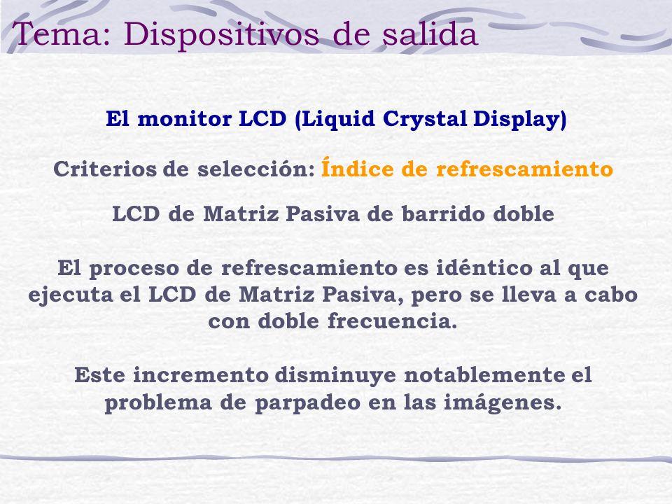 LCD de Matriz Pasiva de barrido doble El proceso de refrescamiento es idéntico al que ejecuta el LCD de Matriz Pasiva, pero se lleva a cabo con doble