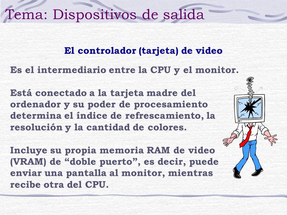 Es el intermediario entre la CPU y el monitor. Está conectado a la tarjeta madre del ordenador y su poder de procesamiento determina el índice de refr