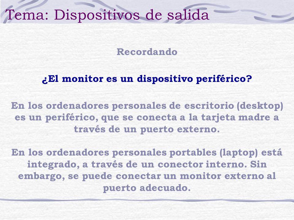 Recordando Tema: Dispositivos de salida ¿El monitor es un dispositivo periférico? En los ordenadores personales de escritorio (desktop) es un periféri