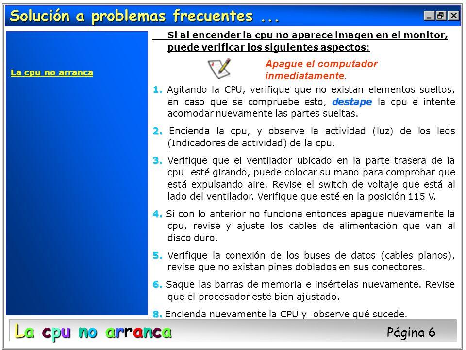 Solución a problemas frecuentes... La cpu no arranca Si al encender la cpu no aparece imagen en el monitor, puede verificar los siguientes aspectos: 1