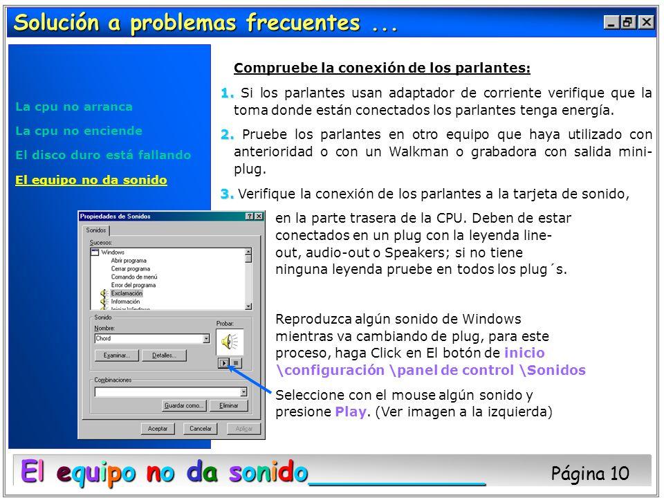 Solución a problemas frecuentes... La cpu no arranca La cpu no enciende El disco duro está fallando El equipo no da sonido Compruebe la conexión de lo