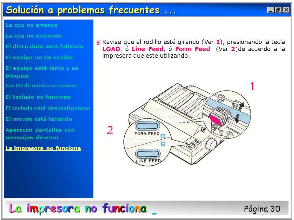 Solución a problemas frecuentes... 1 LOADLine FeedForm Feed2 4Revise que el rodillo esté girando (Ver 1), presionando la tecla LOAD, ó Line Feed, ó Fo