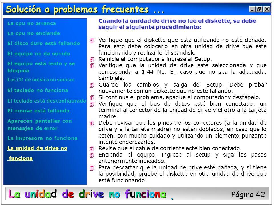 Solución a problemas frecuentes... Cuando la unidad de drive no lee el diskette, se debe seguir el siguiente procedimiento: 4Verifique que el diskette