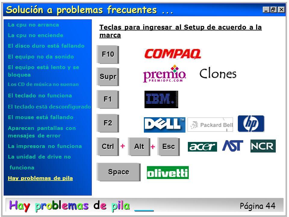 Solución a problemas frecuentes... Hay problemas de pila Hay problemas de pila Página 44 F10 Space EscAltCtrl F2 F1 Supr + + Clones Teclas para ingres