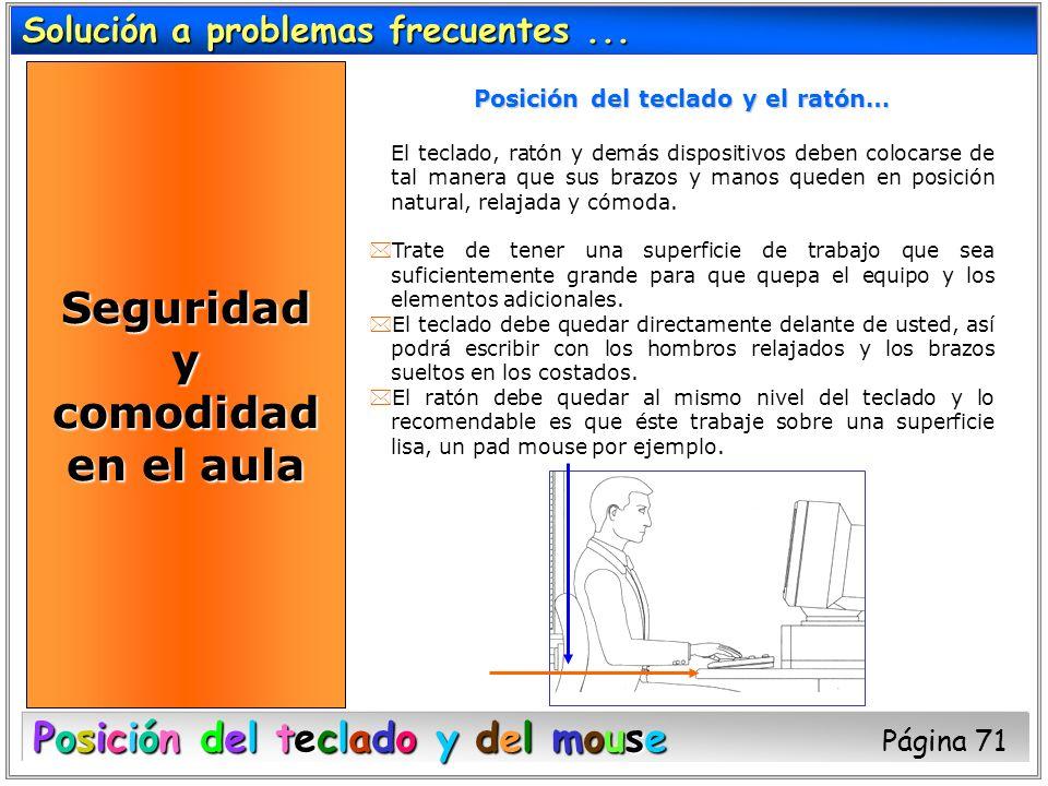 Solución a problemas frecuentes... Posición del teclado y del mouse Posición del teclado y del mouse Página 71 Posición del teclado y el ratón… El tec