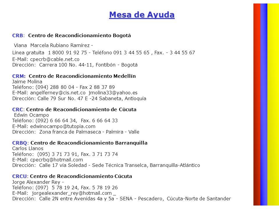 Mesa de Ayuda CRB CRB: Centro de Reacondicionamiento Bogotá Viana Marcela Rubiano Ramírez - Línea gratuita 1 8000 91 92 75 - Teléfono 091 3 44 55 65,