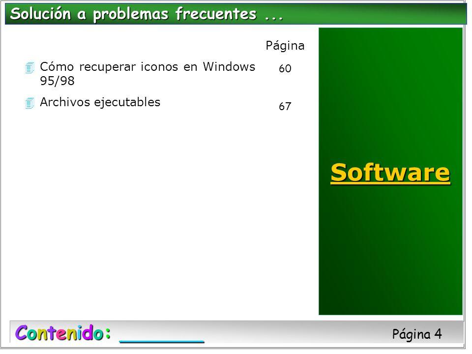 4Cómo recuperar iconos en Windows 95/98 4Archivos ejecutables Solución a problemas frecuentes... Contenido: Contenido: Página 4 Página 60 67 Software